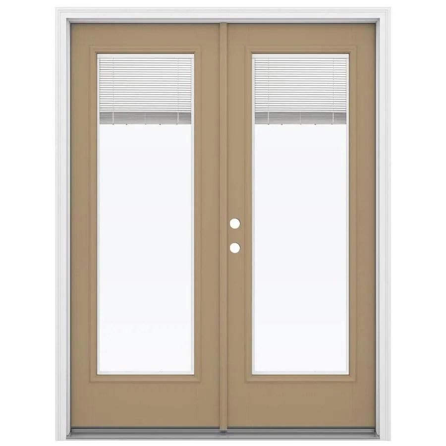 jeld wen 60 in x 80 in blinds between the glass warm wheat fiberglass right hand inswing double door french patio door