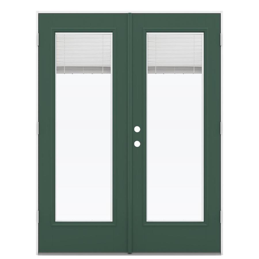 jeld wen 60 in x 80 in blinds between the glass evergreen fiberglass left hand outswing double door french patio door