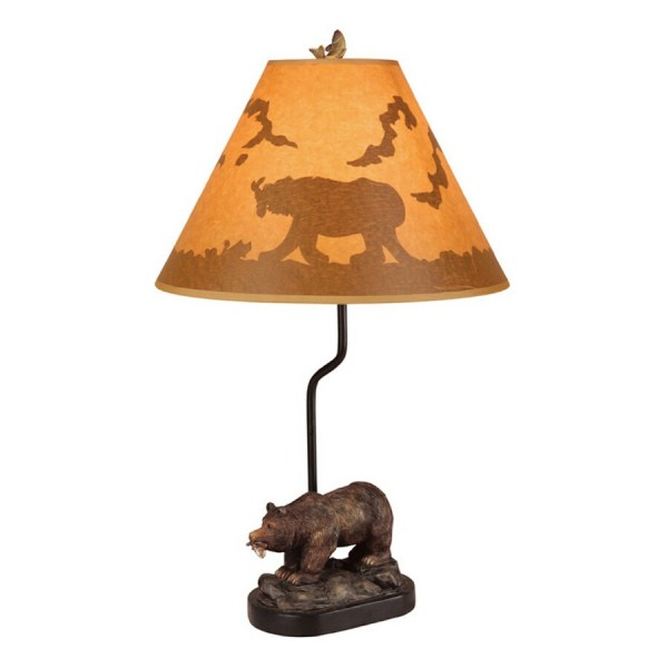 """Bel Air Lighting 22"""" Lodge Bear And Fish Table Lamp With"""