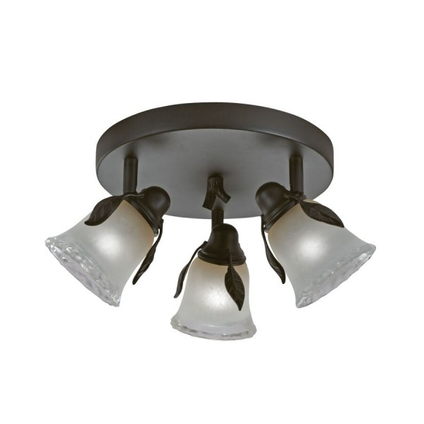 Portfolio Branches 3-light 9-in Olde Bronze Dimmable Standard Flush Mount Fixed Track Light Kit