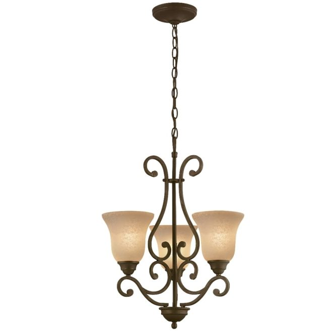 Portfolio Linkhorn 20 In 3 Light Iron Stone Wrought Tinted Glass Shaded Chandelier