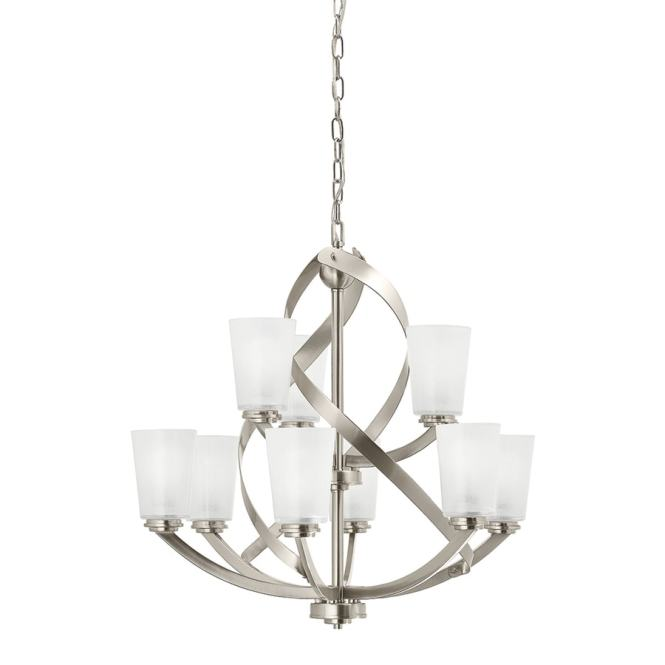 Kichler Layla 26 In 9 Light Etched Glass Shaded Chandelier