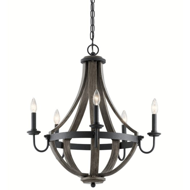 Kichler Merlot 25 In 5 Light Distressed Black And Wood Barn Candle Chandelier
