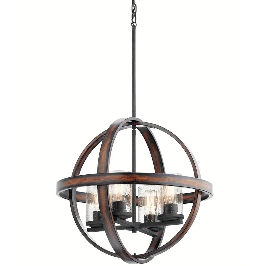 medium resolution of kichler barrington distressed black and wood tone single rustic seeded glass orb pendant light