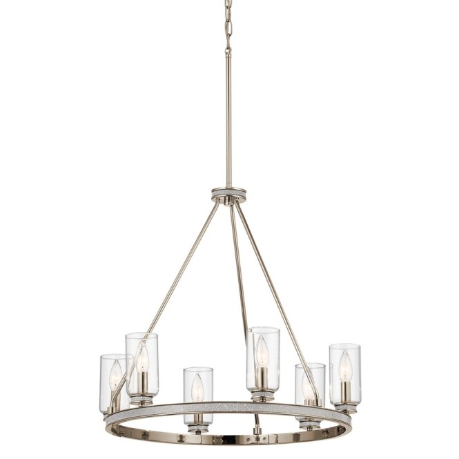 Kichler Angelica 24 In 6 Light Polished Nickel With Glass Accents Vintage Clear