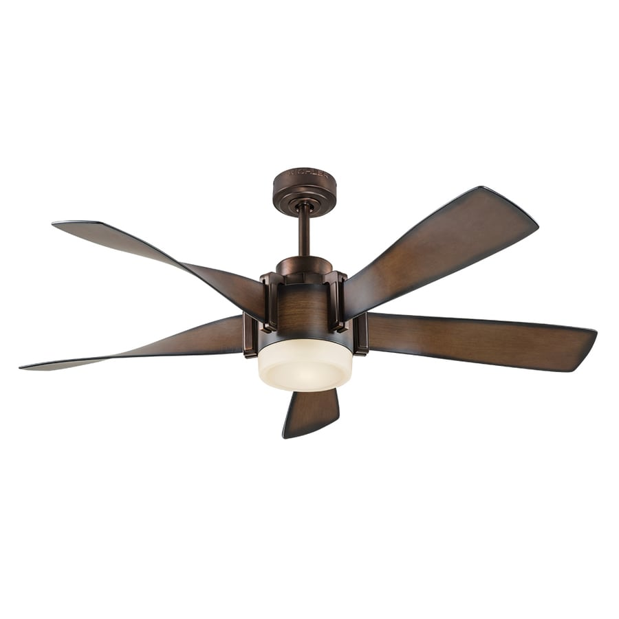 medium resolution of kichler 52 in brown led indoor ceiling fan with light kit and remote 5 blade