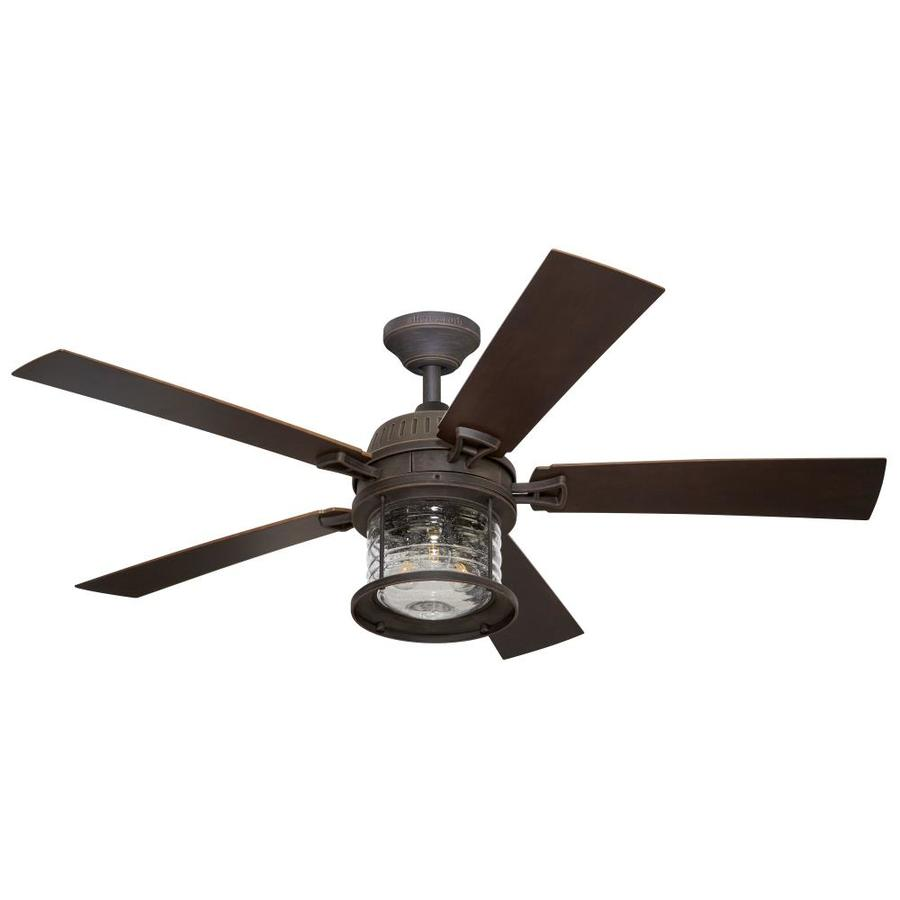 Shop allen  roth Stonecroft 52in Rust IndoorOutdoor Downrod Or Close Mount Ceiling Fan with