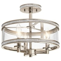 Shop Kichler Angelica 13-in W Polished nickel Clear Glass ...