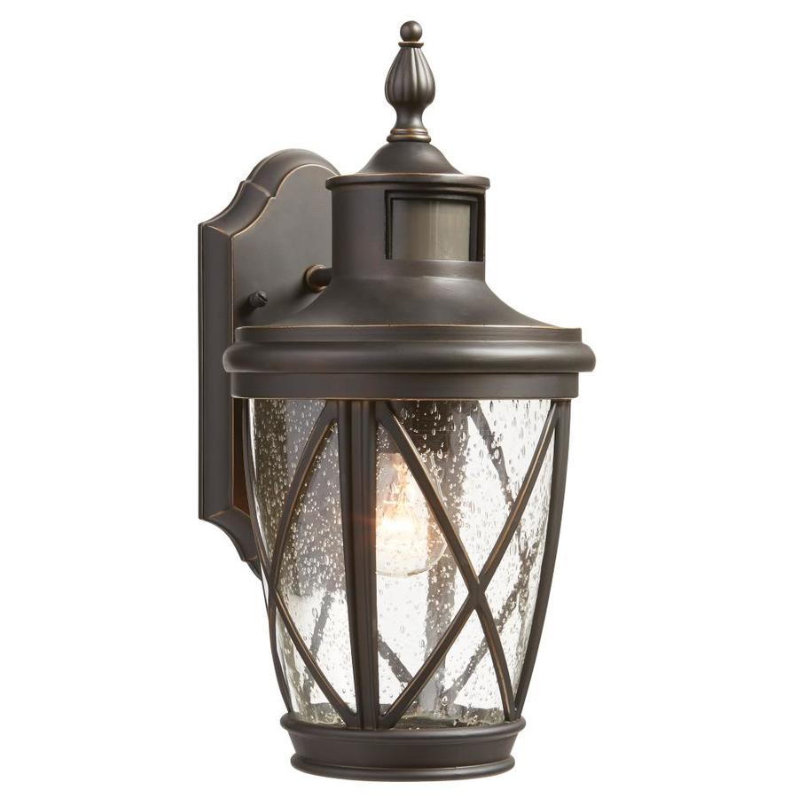 medium resolution of allen roth castine 13 78 in h rubbed bronze motion activated medium base e