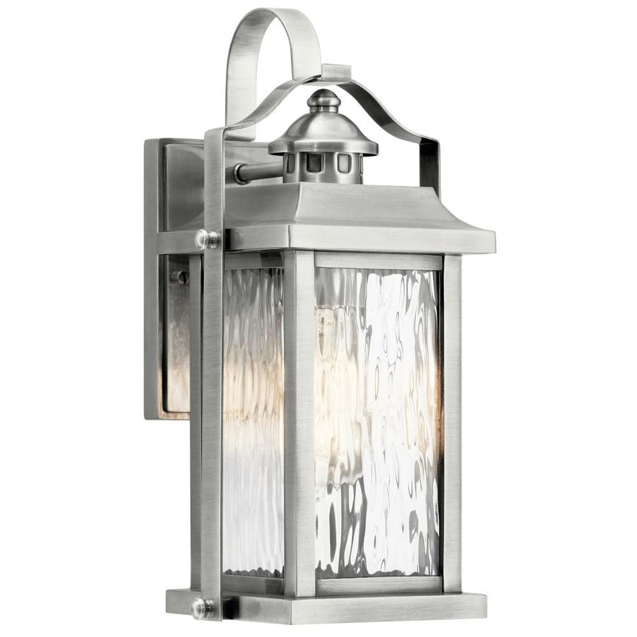 kichler linford 13 75 in h antique brushed aluminum medium base e 26 outdoor wall light