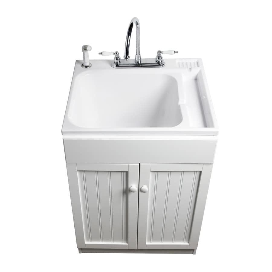 ASB 25in x 22in White Freestanding Composite Laundry