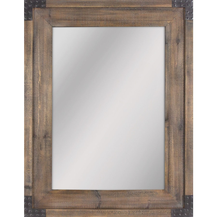 Allen Roth 40 55 In L X 30 31 In W Reclaimed Wood Beveled Wall Mirror In The Mirrors Department At Lowes Com