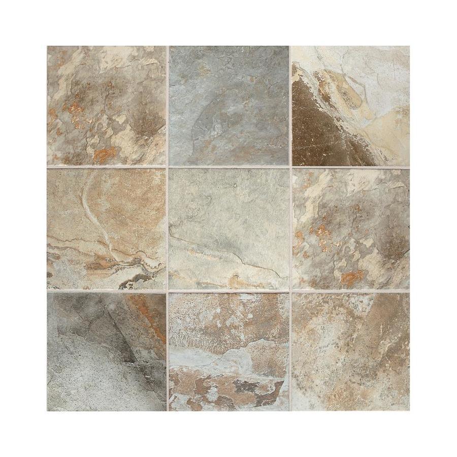 american olean kendal slate 8 pack easdale neutral 18 in x 18 in glazed porcelain stone look floor and wall tile
