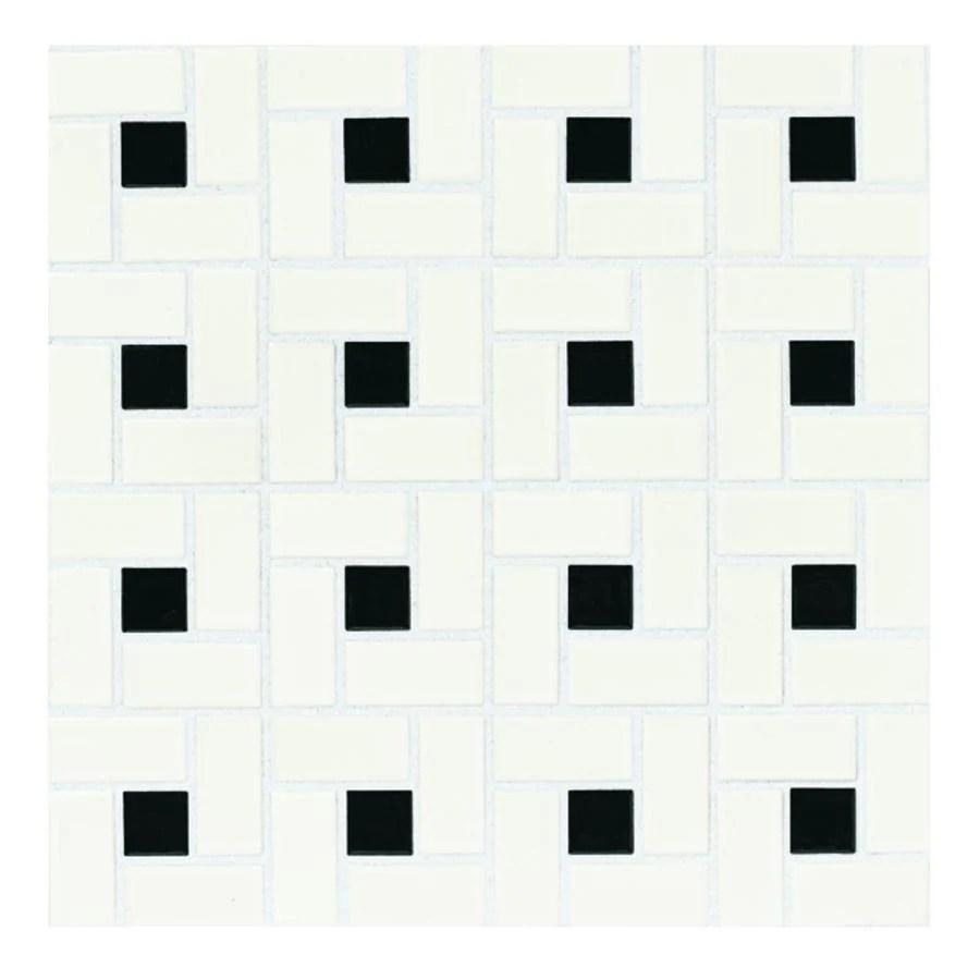 american olean alameda white and black dot 12 in x 12 in glazed ceramic pinwheel wall tile lowes com