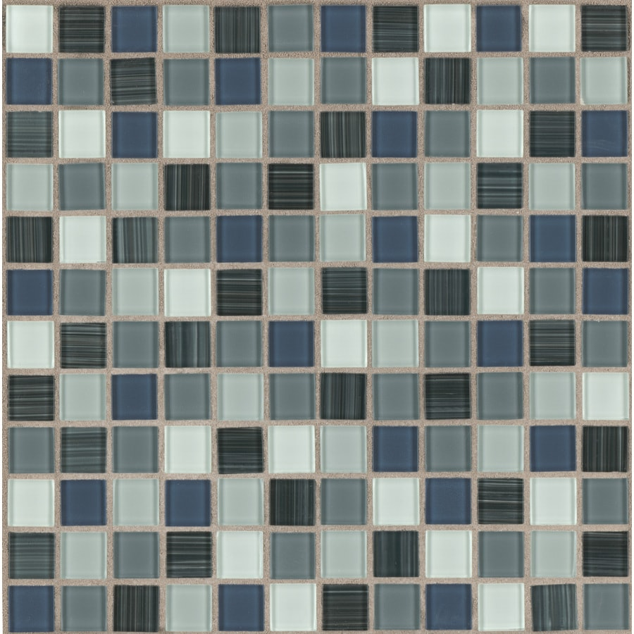 american olean 12 in x 12 in tropical blue glass mosaic square wall tile