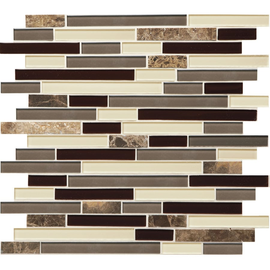 american olean mosaic chateau emperador 12 in x 12 in glossy glass stone marble linear wall tile lowes com