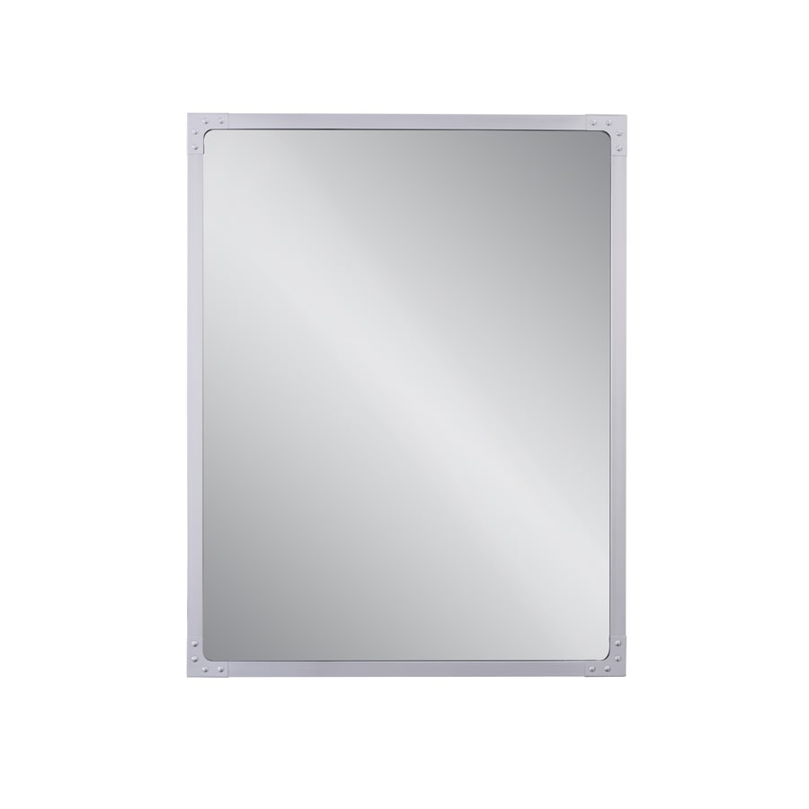 Allen Roth Roveland 28 In Brushed Stainless Steel Rectangular Bathroom Mirror In The Bathroom Mirrors Department At Lowes Com