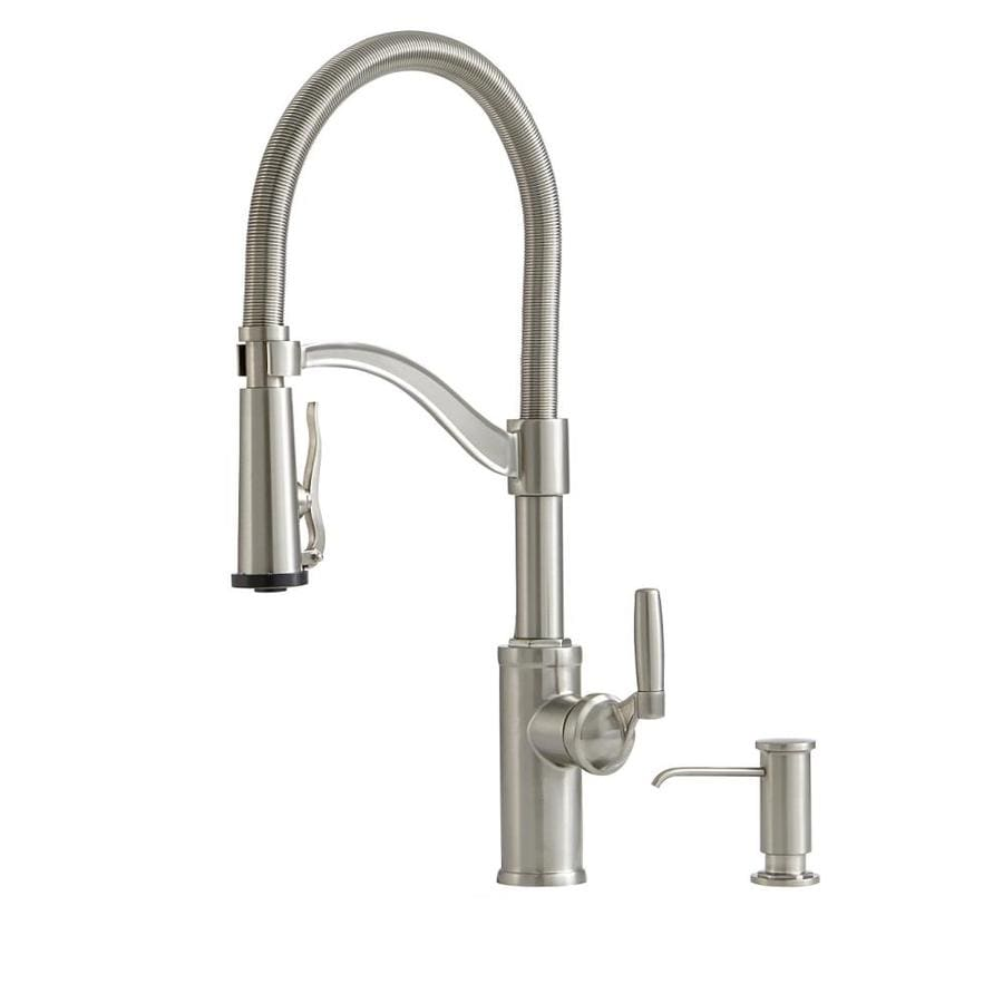 stainless kitchen faucet coastal table giagni pompa steel 1 handle deck mount pre rinse