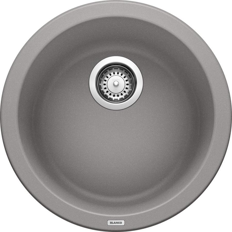 blanco rondo 17 687 in l x 17 687 in w metallic gray granite drop in residential bar sink