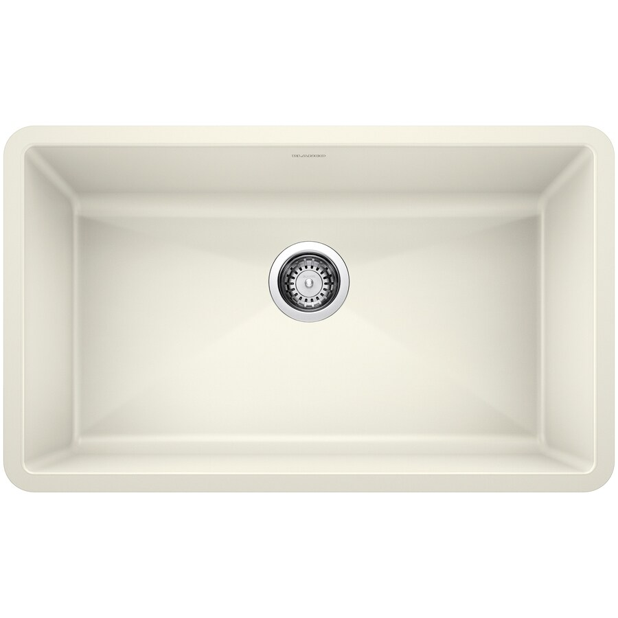 lowes undermount kitchen sink cupboards for sale shop blanco precis 18.75-in x 32-in biscuit (off-white ...