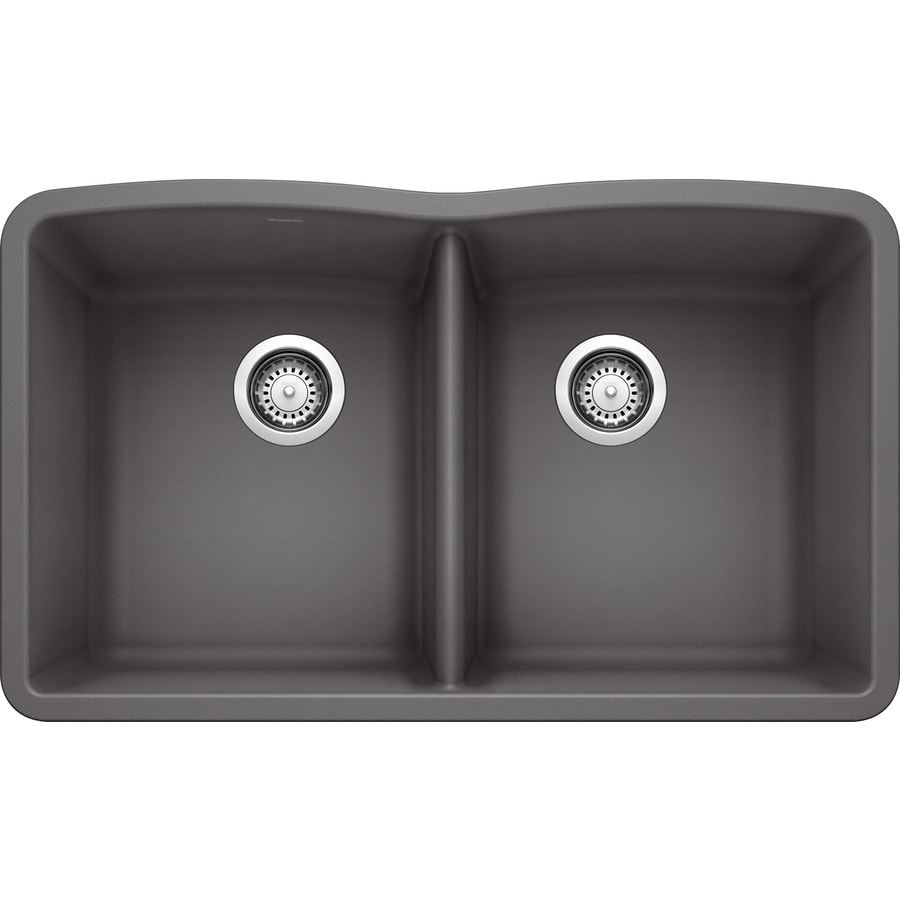 blanco diamond undermount 32 in x 19 25 in cinder gray double equal bowl kitchen sink