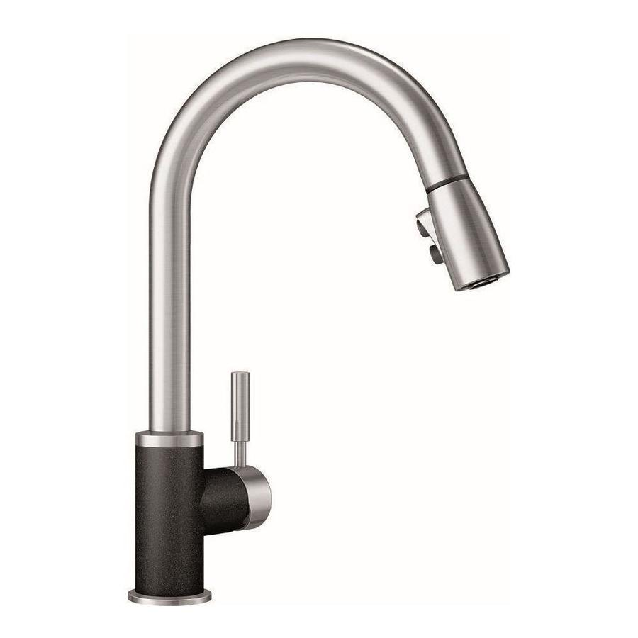 blanco sonoma anthracite stainless black 1 handle deck mount pull down handle kitchen faucet in the kitchen faucets department at lowes com