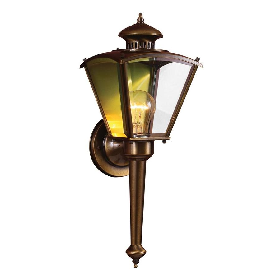 kitchen lights lowes wood floors in shop desmet 18.75-in h antique solid brass outdoor wall ...