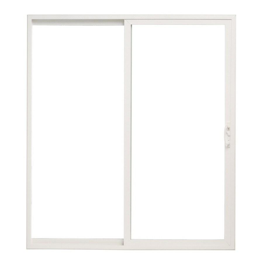 Shop Pella 5 Sliding Patio Door Vinyl 10 Series Clear Insulated Glass White Sliding No Brick