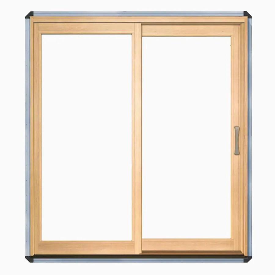 Pella Lifestyle Clear Glass Wood LeftHand Sliding Double Door Sliding Patio Door Common 72in