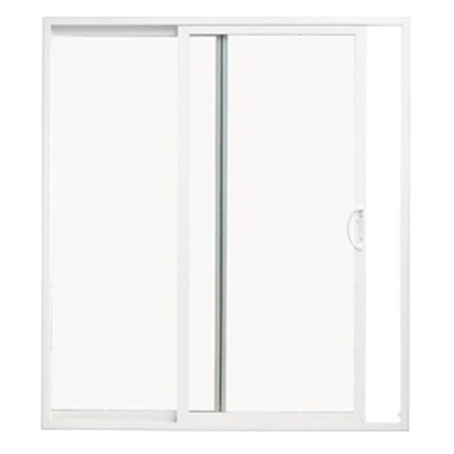 thermastar by pella thermastar by pella 60 in x 80 in clear glass vinyl universal reversible double door sliding patio door