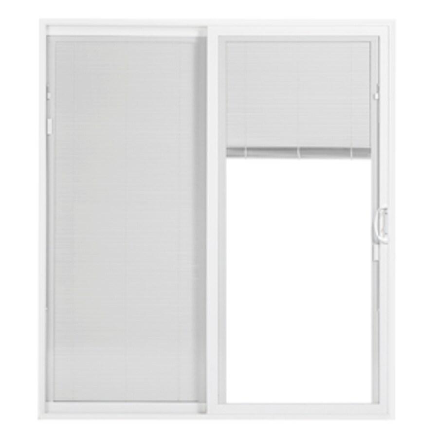 pella 72 in x 80 in blinds between the glass white vinyl left hand sliding double door sliding patio door