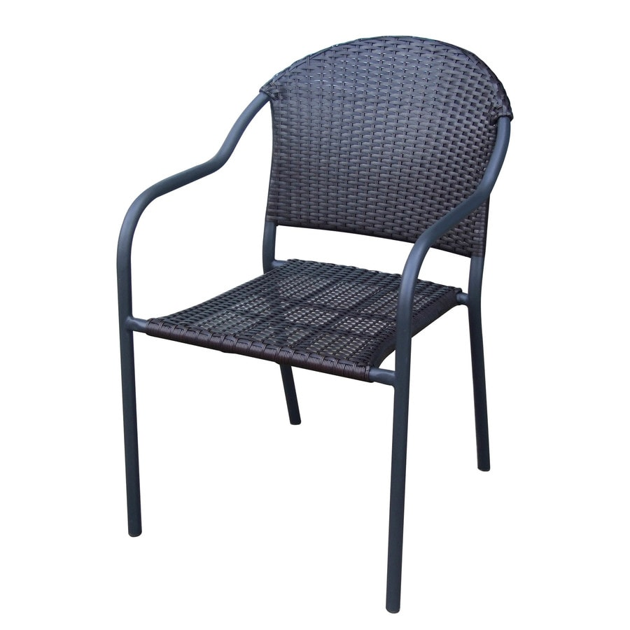 style selections pelham bay wicker stackable matte black metal frame stationary dining chair s with woven seat