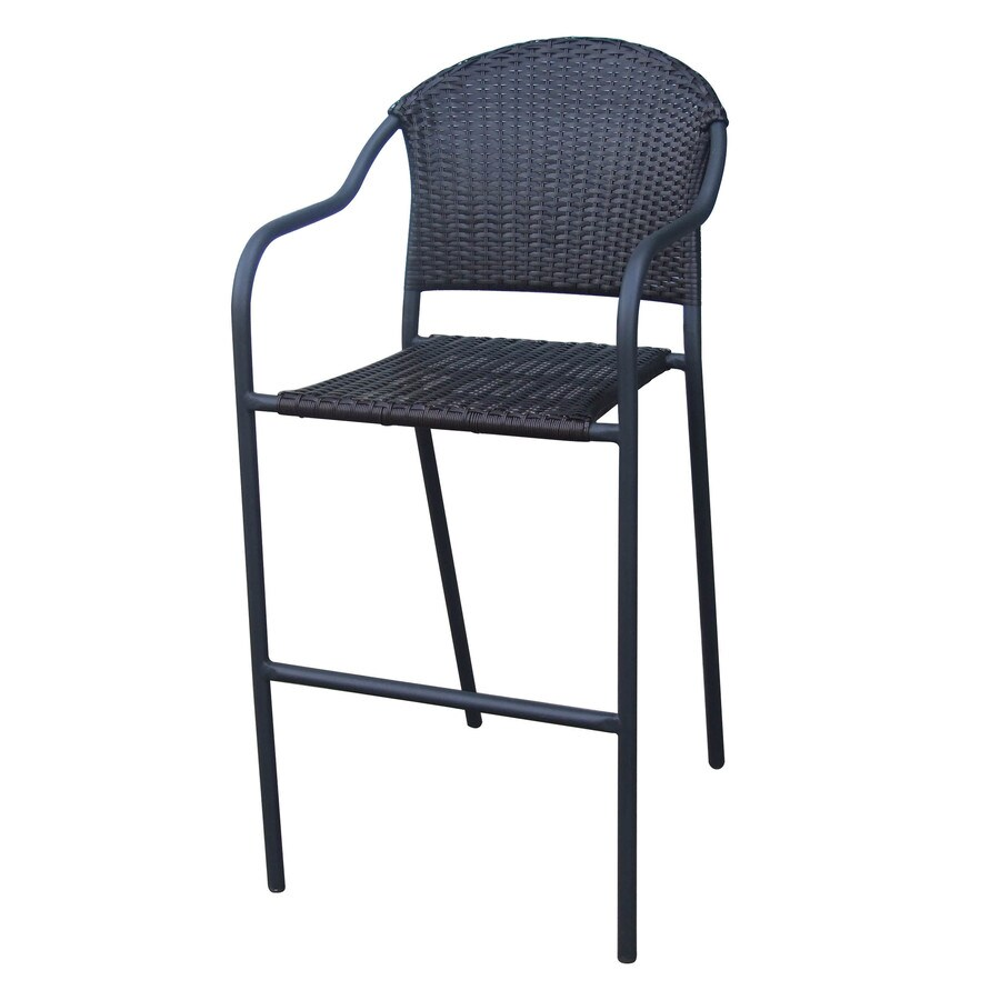 bar height outdoor chairs lowes ergonomic chair drawing shop garden treasures wicker stool at lowes.com