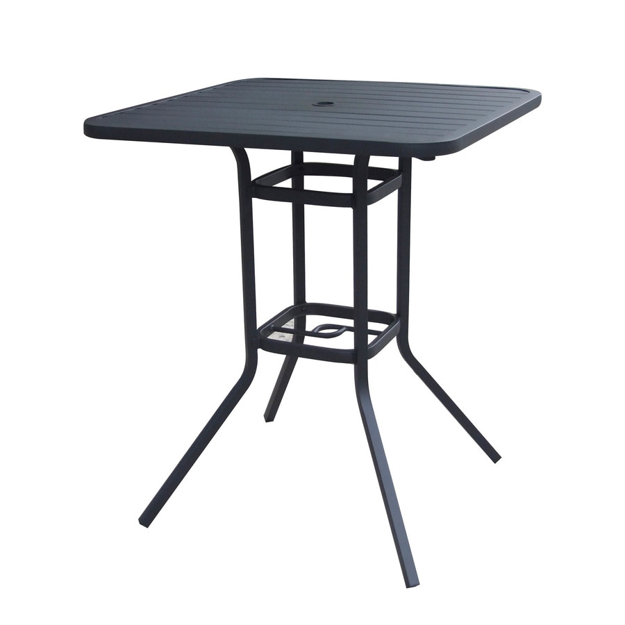 style selections pelham bay square outdoor bistro table 33 in w x 33 in l with umbrella hole
