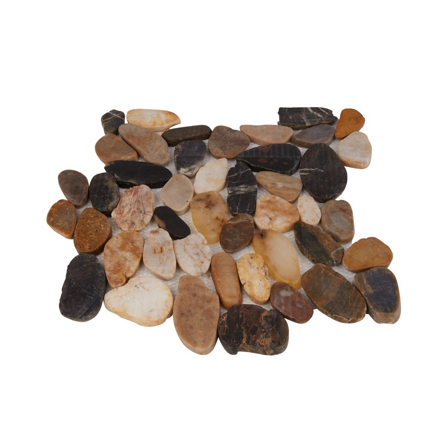 rain forest sliced pebble tiles 5 pack mixed 12 in x 12 in honed natural stone pebble floor tile