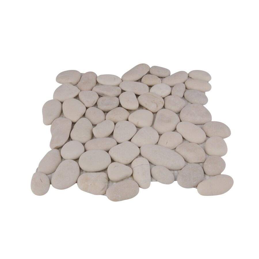 rain forest rain forest pebble tiles 5 pack white 12 in x 12 in natural stone pebble floor tile