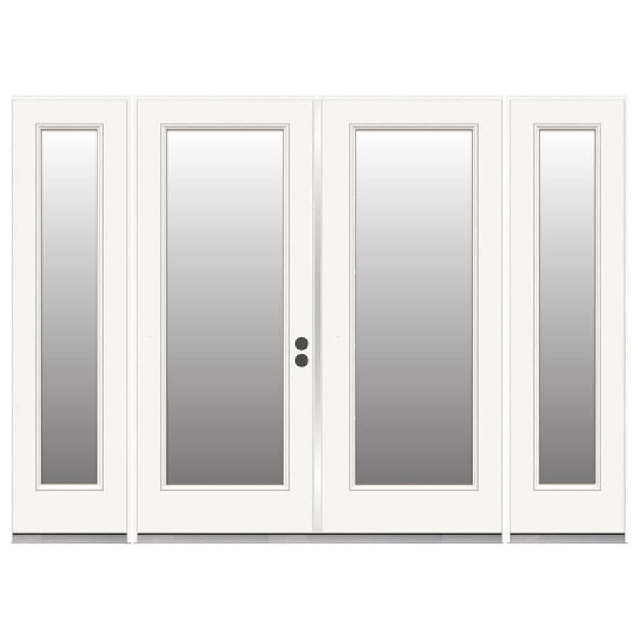 reliabilt steel patio door 96 in x 80 in clear glass steel left hand inswing double doors french patio door with screen lowes com
