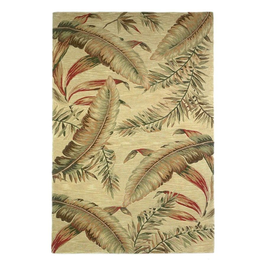 Shop KAS Rugs Floral Trends Ivory Rectangular Indoor Tufted Tropical Area Rug Common 9 x 12