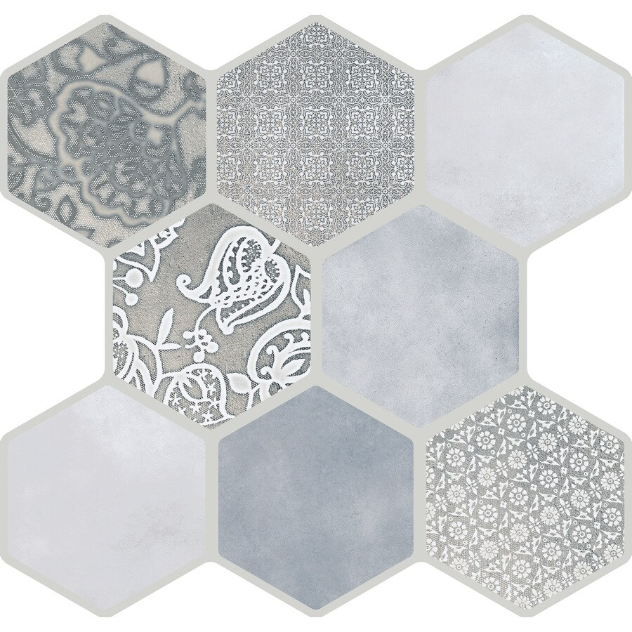 emser virtue 9 pack gray 18 in x 18 in glazed porcelain patterned floor and wall tile lowes com