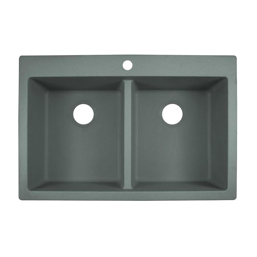 franke primo dual mount 33 in x 22 in shadow grey double equal bowl 1 hole kitchen sink
