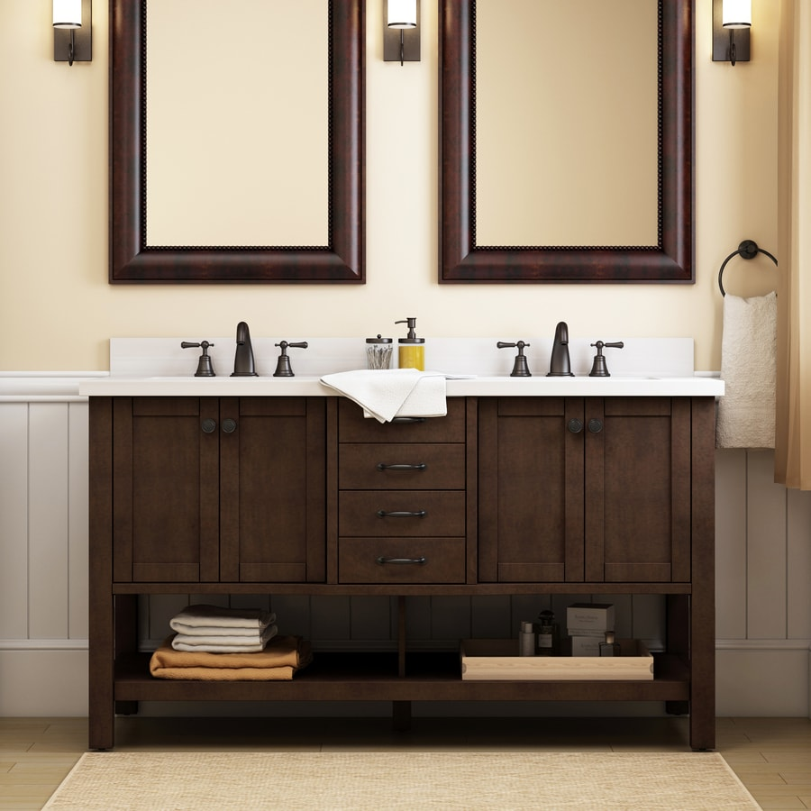 allen roth kingscote 60 in espresso undermount double sink bathroom vanity with espresso engineered stone top in the bathroom vanities with tops department at lowes com