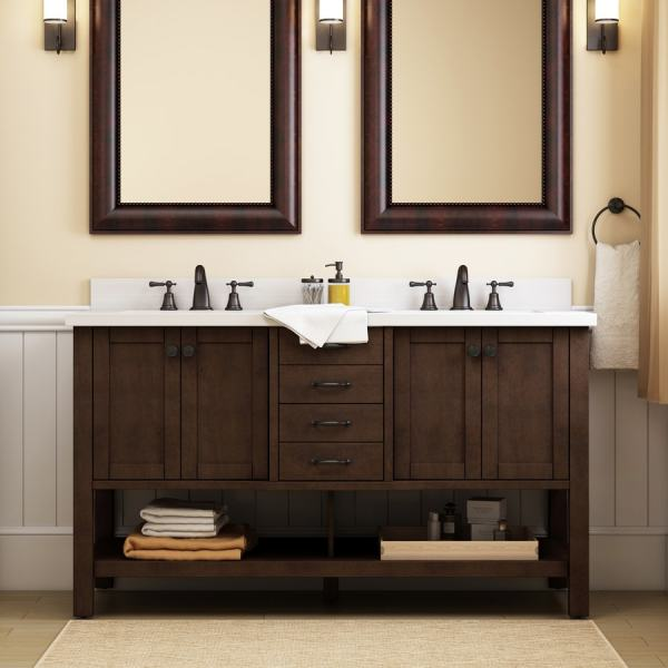 Allen Roth Kingscote 60-in Espresso Double Sink Bathroom Vanity With White Engineered Stone
