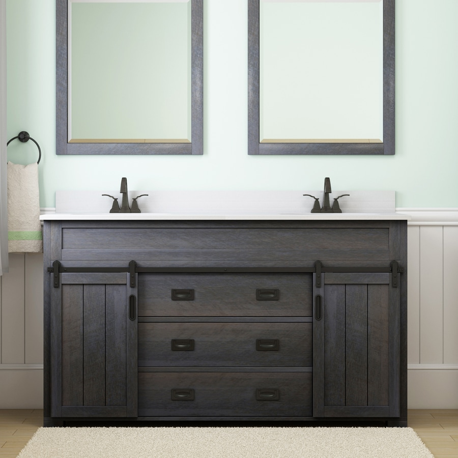 style selections morriston 60 in distressed java undermount double sink bathroom vanity with white engineered stone top