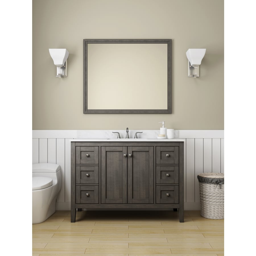 Allen Roth Everdene 48 In Grey Single Sink Bathroom Vanity With Carrera White Engineered Stone Top In The Bathroom Vanities With Tops Department At Lowes Com