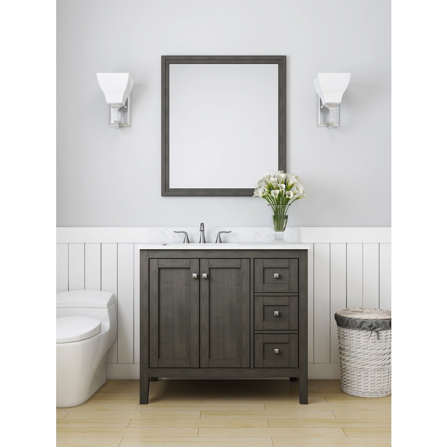 Allen Roth Everdene 36 In Grey Single Sink Bathroom Vanity With Carrera White Engineered Stone Top In The Bathroom Vanities With Tops Department At Lowes Com