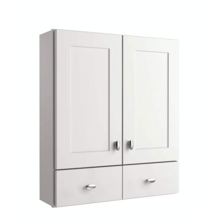 Diamond Freshfit Palencia White 25 In W X 29 In H X 8 25 In D White Bathroom Wall Cabinet In The Bathroom Wall Cabinets Department At Lowes Com