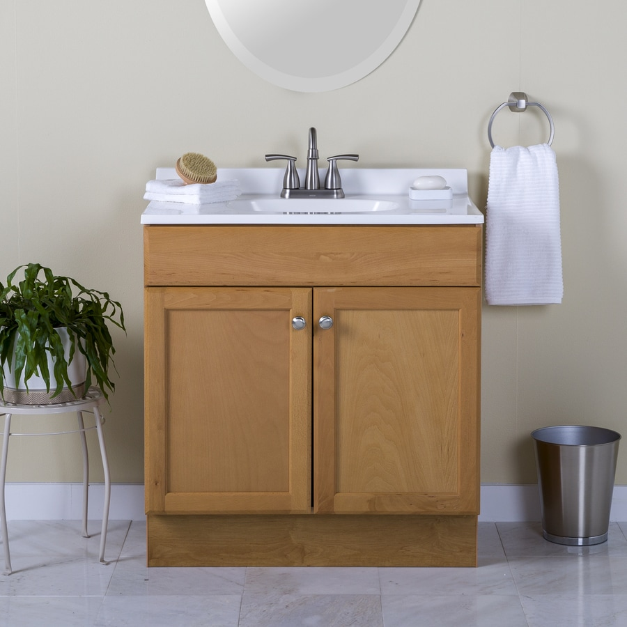 project source 30 in golden single sink bathroom vanity with white cultured marble top
