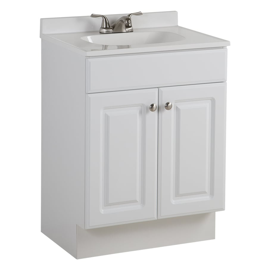 project source 24 in white single sink bathroom vanity with white cultured marble top