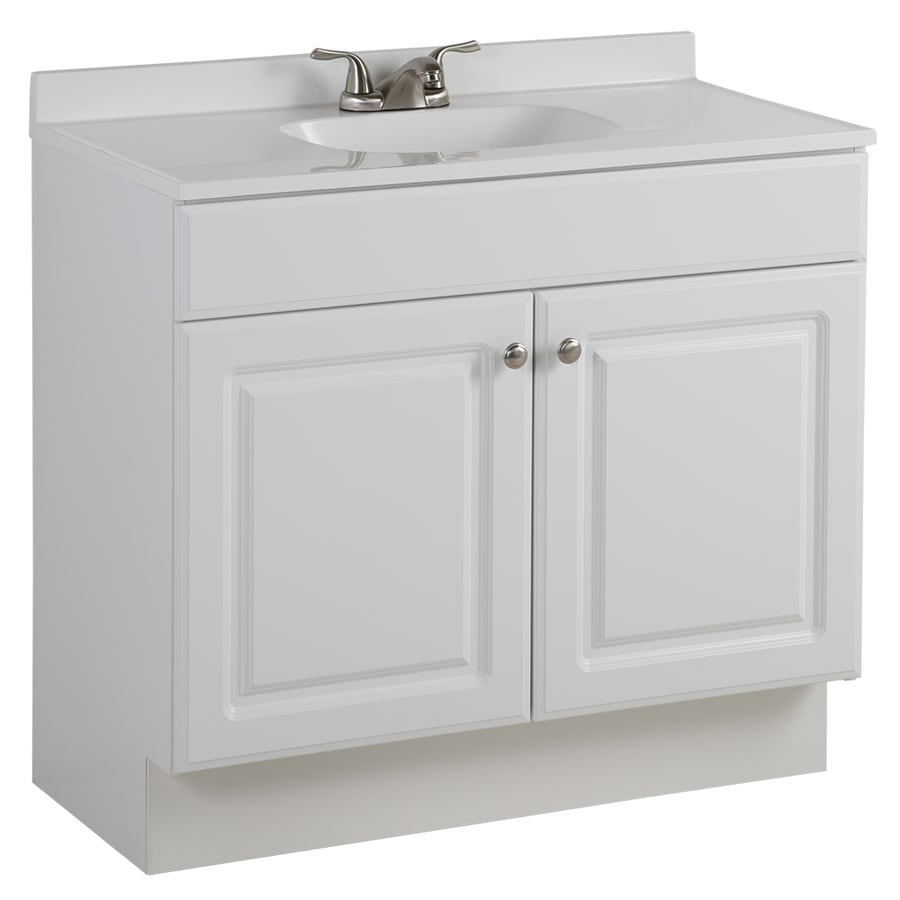Project Source 365in White Single Sink Bathroom Vanity