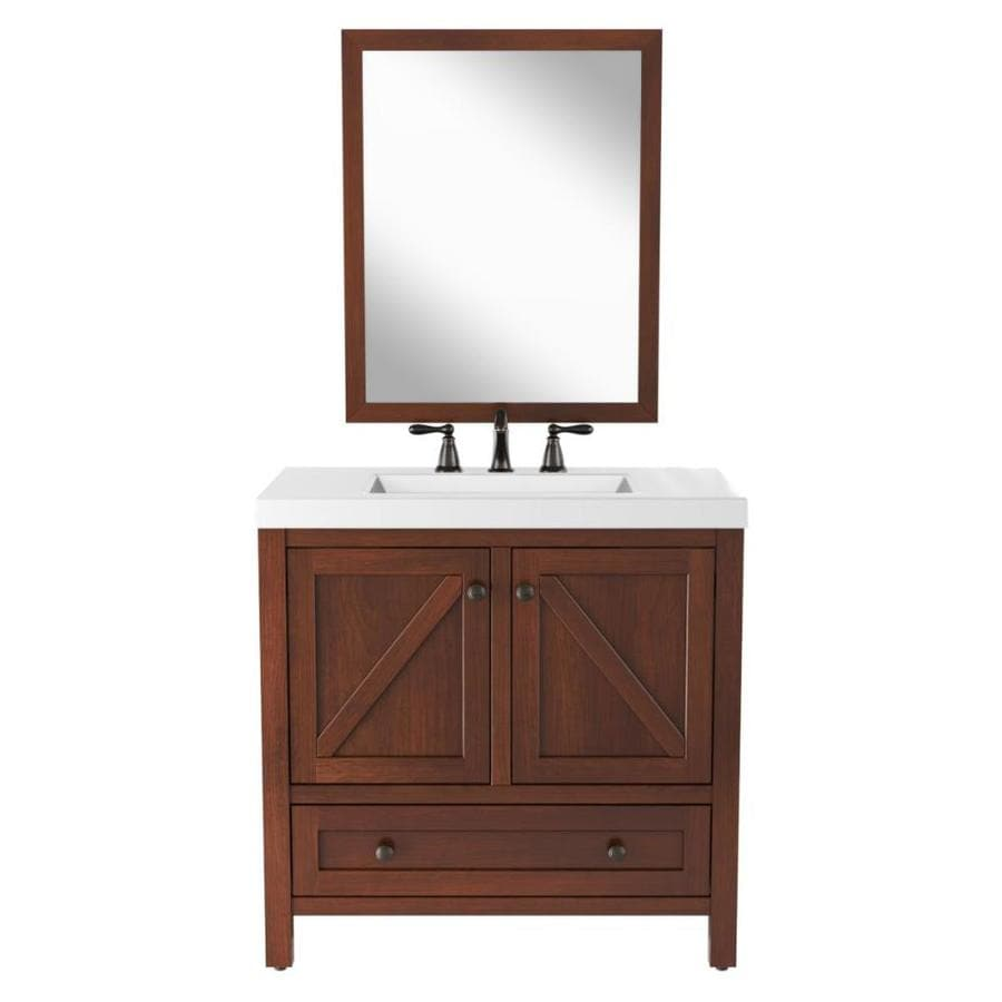 allen roth 36 375 in toffee single sink bathroom vanity with white cultured marble top and mirror